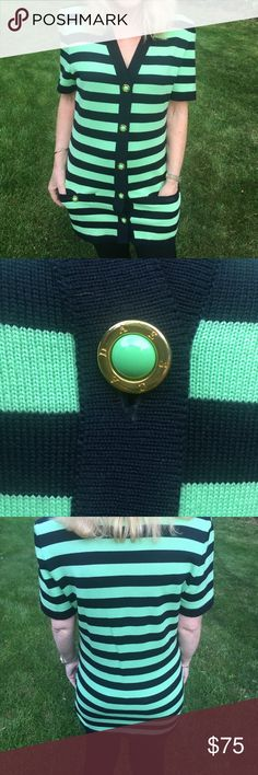 Escada VTG Cardigan/Sweater (Wool ) Mint/Navy Great Condition Looks Beautiful on ,Casual & Classy, Cool Buttons! Has Shoulder Pads Sweaters Cardigans