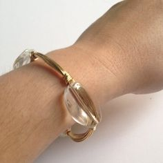 Three stone wire bangle - clear crystal