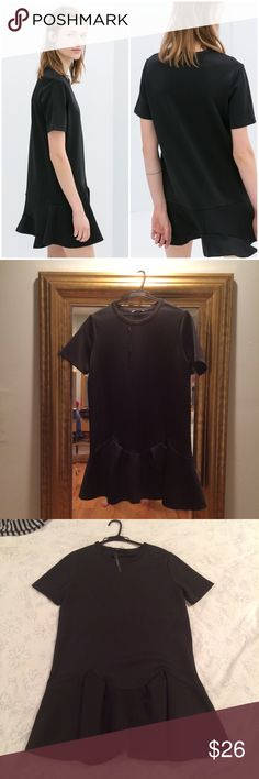 Zara Black Short Sleeve Dress Zara black short sleeve structured dress. Lovely silhouette and comfortable fit. Never worn, tag is missing but a different tag is still attached. Will update with dress material as well. Zara Dresses Midi
