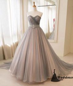 Sweetheart Long Prom Dress Grey Tulle A-Line Evening Dress,HS415 #fashion#promdress#eveningdress#promgowns#cocktaildress