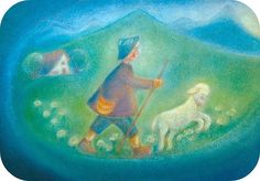The shepherd gathering his sheep. I feel at peace! ~Waldorf art