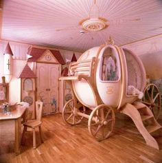 princess room ~ Cute for a little girl's room! Love the carriage bed! Girls Room Design, Girl Bedroom Designs, Girls Bedroom, Bedroom Decor, Bedroom Ideas, Nursery Ideas, Nursery Pictures, Bedroom Furniture, Nursery Themes
