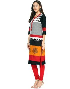 LadyIndia.com # Cotton Kurti, Exclusive Designer Floral Printed Cotton Black Kurti For Women, Kurtis, Kurtas, Cotton Kurti, https://ladyindia.com/collections/ethnic-wear/products/exclusive-designer-floral-printed-cotton-black-kurti-for-women