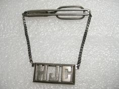 Truly Vintage Sterling Silver Swank Tie Bar with Monogramed HJC on Chain, signed #Swank