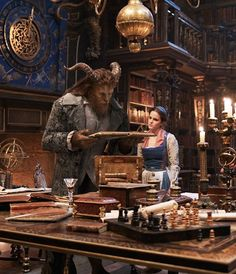 The Beast (Dan Stevens) and Belle (Emma Watson) in the castle library in Disney's BEAUTY AND THE BEAST, a live-action adaptation of the studio's animated classic which is a celebration of one of the most beloved stories ever told. Disney And Dreamworks, Disney S, Disney Love, Disney Magic, Disney Wiki, Disney Princess, Dan Stevens, Film 2017, Ewan Mcgregor