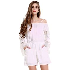 Summer Womens off Shoulder Jumpsuits Brand White Hollow Out long sleeve Playsuit Sexy Backless Rompers jumpsuit Clothes