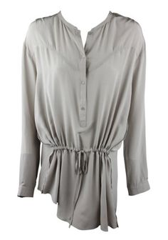 Gold Hawk Womens Gray Drawstring Silk Shirt Dress « Clothing Adds Anytime