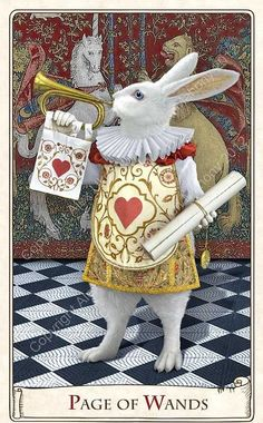 Page of Wands - Alice in Wonderland: The White Rabbit in the Alice Tarot, from Baba Studios. Lewis Carroll, Alicia Wonderland, Adventures In Wonderland, White Rabbit Alice In Wonderland, Page Of Wands, Chesire Cat, Rabbit Art, Rabbit Hole, White Rabbits