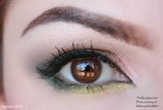 """""""Spring Flower"""" by Lynneth!  Lemon lime, Blackened Emerald, Steal the Night and Mad Mad Mocha pigments. The pink color is  E.L.F. Mineral eyeshadow in Sweet."""