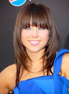 Carly Rae Jepsen's Medium, Brunette, Layered Hairstyle with Bangs - Beauty Riot