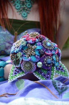 Vintage Brooch Bouquet  #vintage #brooch #bouquet #button #purple