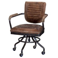 Modern Industrial Office Chair. Mustang Brown Leather Office Chair in high quality leather. Contemporary swivel desk chair with industrial design. Comfortable office chair upholstered in leather. Best office chair with Free UK delivery! Rustic Office Chairs, Industrial Office Chairs, Industrial Style Desk, Home Office Chairs, Modern Industrial, Industrial Design, Office Furniture, Vintage Office Chair, Office Seating