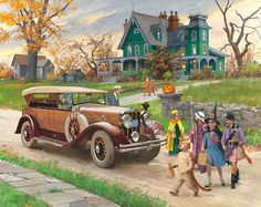 1929 Franklin Sports Car by Harry Anderson - 'Halloween' from Great Moments in Early American Motoring EXXON/ESSO Car Calendar