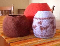 Felted vessels knit and felted by me.