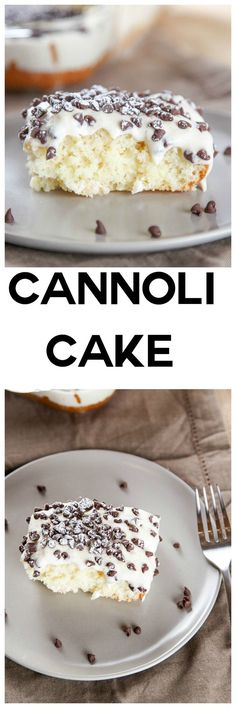 Cannoli Cake with Cannoli Cream Frosting: Moist melt in your mouth cake topped w. - Cannoli Cake with Cannoli Cream Frosting: Moist melt in your mouth cake topped with a decadent cann - Italian Desserts, Just Desserts, Delicious Desserts, Yummy Food, Italian Cake, Cupcake Recipes, Baking Recipes, Cupcake Cakes, Dessert Recipes