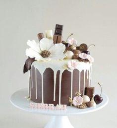 White Chocolate Drip Cake with Flowers