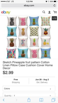 Throw Pillow Covers, Pillow Cases, Throw Pillows, Pineapple Fruit, Fruit Pattern, Cotton Linen, Cushions, Color, Ebay