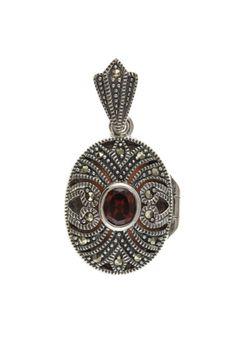 Silver Marcasite & Garnet Oval Locket #jewellery #silver #locket #pendant #marcasite #garnet #vintage Locket Design, 925 Silver, Sterling Silver, Silver Lockets, Marcasite, Garnet, Jewelry Collection, Jewellery, Pendant