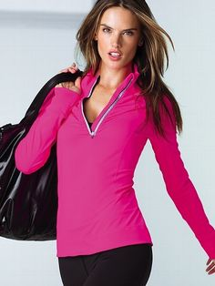 Zip up and go in a jacket made for making moves: the Ruched Half-zip Jacket from Victoria's Secret Sport. Ruching along the front zipper brings extra style to our nylon performance fabric with 4-way stretch, making this long-sleeve warm up a gym fave. Get a runway body now in performance workout gear, Made Sexy by Victoria's Secret.  Thumbholes for warmth  Body-Wick technology moves moisture away from the body