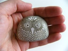 large owl - hand painted stone. $12.00, via Etsy.