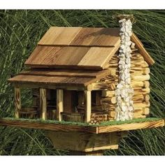 Log Cabin Birdhouse, How To Build A Bird house, Birdhouse Hole Sizes