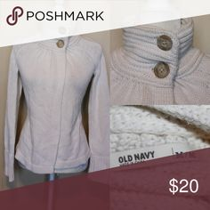 OLD NAVY off white open front Cardigan Two big buttons mock turtleneck Cardigan buttons at neck but open front very nice Old Navy Sweaters Cardigans