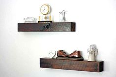Simple floating wall shelves are hand made of a solid western cedar specifically selected for its unique wood grain. Its hand cut, stained and