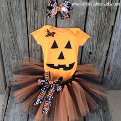 Good for simple baby Halloween costume. 12 Month Pumpkin Costume by FishGirlFashions on Etsy, $35.00