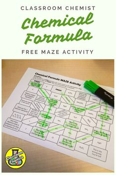 Engage and assess your High School students with this chemical formula maze activity.  Topics covered:  This will test the student's understanding of the formula of elements, covalent chemicals, ionic compounds, formula containing group (polyatomic) ions and transition metals  How to use:  Students read the first question, choose the correct answer and follow the maze to the next question. There are 11 correct answers and the correct route through the maze is included. High School Chemistry, Teaching Chemistry, Chemistry Class, Chemistry Experiments, High School Science, Science Lessons, Science Notes, Science Ideas, Teaching Secondary