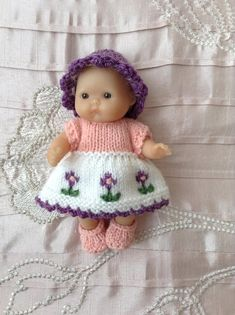 "Hand knitted dolls clothes to fit 5"" Berenguer Itty Bitty baby doll/Cupcake doll"