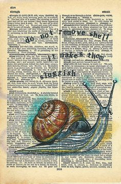 Slow : Rhian Wyn Harrison Old Book Art, Book Page Art, Book Pages, Dictionary Art, Book Nooks, Funny Sayings, Book Crafts, Art Music, Bugs