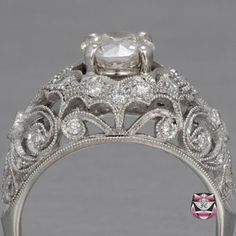 Certified Art Nouveau 0.97ct I/SI European-cut Diamond Engagement Ring