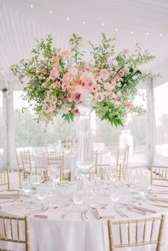 Pink wedding details make this timeless elegant wedding reception come to life. Quinceanera Centerpieces, Wedding Reception Centerpieces, Wedding Table Settings, Wedding Decorations, Aisle Decorations, Wedding Tables, White Wedding Arrangements, Floral Arrangements, Candy Centerpieces
