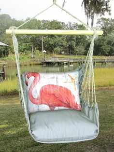 Gray Flamingo Hammock Chair Swing Set