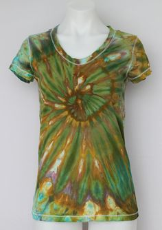 Tie Dye shirt Ice Dyed V neck t shirt  size by ASPOONFULOFCOLORS