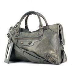 Balenciaga sac City en cuir gris