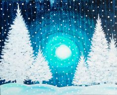 View Paint and Sip Artwork - Pinot's Palette Winter Painting, Diy Painting, Painting & Drawing, Arrow Painting, Christmas Paintings, Christmas Art, White Christmas, Winter Szenen, Wine And Canvas
