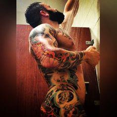 No clothes needed Dope Tattoos, Tattoos For Guys, Tatoos, Beard Tattoo, I Tattoo, Hairy Men, Bearded Men, Sexy Beard, Tattoo Project