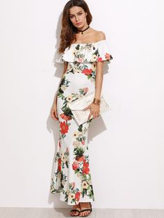 Online shopping for White Flower Print Off The Shoulder Slit Back Fishtail Dress from a great selection of women's fashion clothing & more at MakeMeChic.COM.