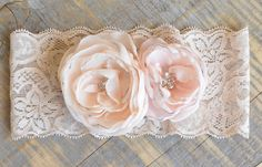nude stretch lace garter with hand made chiffon roses
