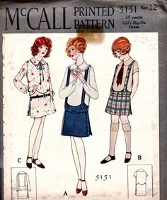 UNCUT Vintage 1920's McCALL Pattern 5151 - Art Deco Style Slip-On Dress - Breast 30 - Size 12