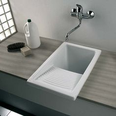 Clearwater Small White Ceramic Laundry Sink - 395 x 610mm | Tap Warehouse