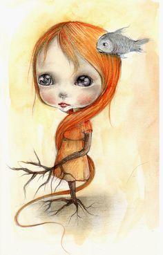 Original painting mixed media on paper....OOAK by ppinkydollsart