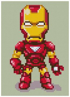 PDF Cross Stitch pattern - 0007.Iron man - INSTANT DOWNLOAD