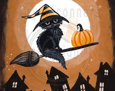 Autumn Coffee Cat Original Folk Art Painting от KilkennyCatArt