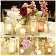pretty mason jars with candles and flowers