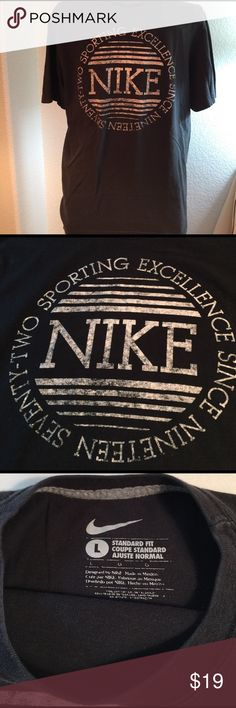 Nike Men's Vintage tee, large, black with graphic So soft, comfy & pre loved! Vintage style logo tee from Nike. Normal signs of wear, but more than another lifetime of use! Nike Shirts Tees - Short Sleeve