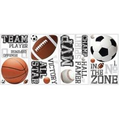 RoomMates RMK1705SCS Variable Sized - All Star Sports Saying - Self-Adhesive Rep