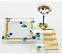 Sparkle Party Glass Set painted with Follk Art Enamels #FAEnamels
