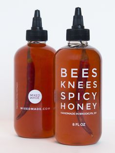 Get Bees Knees Spicy Honey, the only hot sauce you'll ever need. Our handmade chili-infused spicy honey makes every meal un-boring. Honey Packaging, Bottle Packaging, Food Packaging, Packaging Supplies, Product Packaging, Spicy Honey, Raw Honey, Food Design, Honey Label